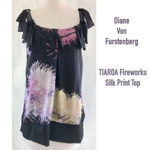 Fireworks Silk Ribbon Criss Cross Back Top TIAORA